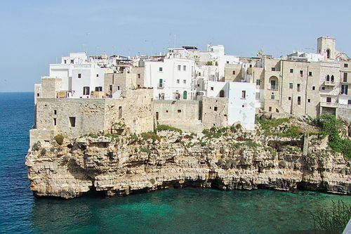 Polignano in Italy, perched atop the high cliff, a breathtaking view