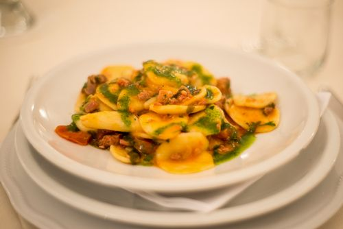 authentic and genuin Italian food: orecchiette with rucola pesto, a travel for foodie